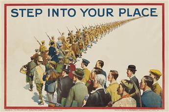 DESIGNER UNKNOWN. STEP INTO YOUR PLACE. 1915. 19x29 inches, 50x75 cm. David Allen & Sons Ltd., Harrow.