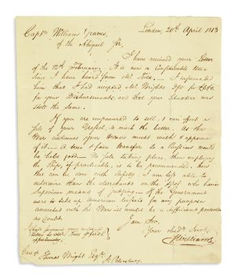 (WAR OF 1812.) 5 letters to Capt. William Graves, a merchant stranded in Russia for the duration of the war.