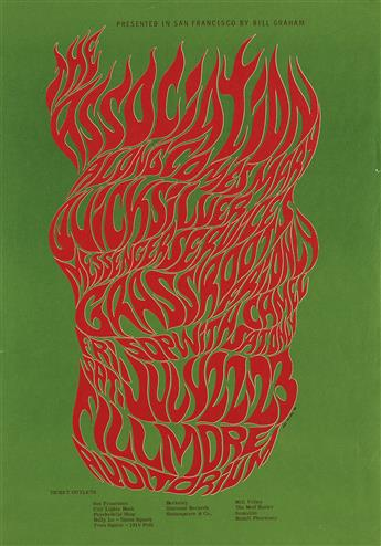 WES WILSON (1937- ). THE ASSOCIATION / FILLMORE AUDITORIUM. 1966. 20x14 inches, 50x35 cm.