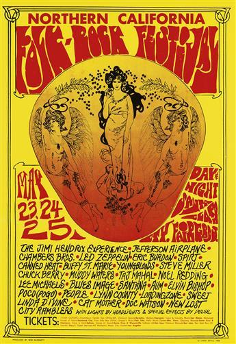 LINDA SEGUL (DATES UNKNOWN). NORTHERN CALIFORNIA FOLK - ROCK FESTIVAL / JIMI HENDRIX. 1968. 20x14 inches, 52x35 cm.