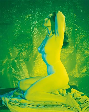 (NUDES) A striking series of 6 prints of the same female nude model, each printed in a different vibrant hue.