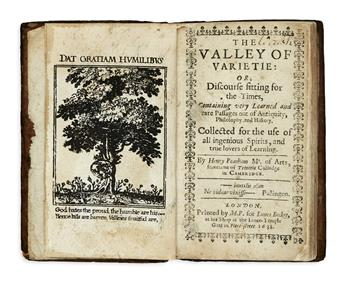PEACHAM, HENRY, the Younger. The Valley of Varietie.  1638.  Frontispiece supplied in facsimile.