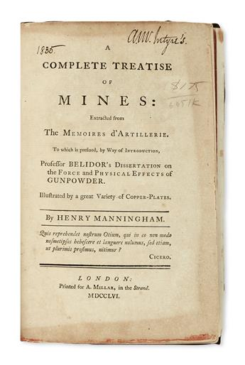 MANNINGHAM, HENRY. A Compleat Treatise of Mines.  1756