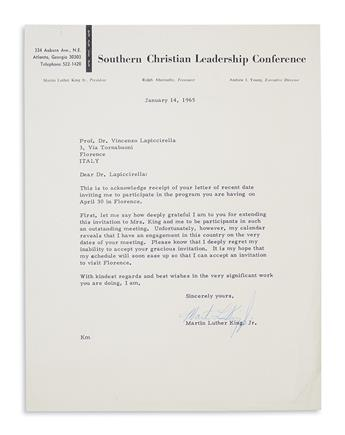 KING, MARTIN LUTHER, JR. Letter declining a speaking engagement in Italy.