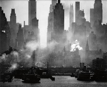 FEININGER, ANDREAS (1906-1999) 42nd Street as viewed from Weehawken.