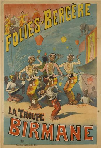 ALFRED CHOUBRAC (1853-1902). FOLIES - BERGÈRE / LA TROUPE BIRMANE. Circa 1890. 46x31 inches, 118x80 cm. Choubrac à Colombes, Seine.