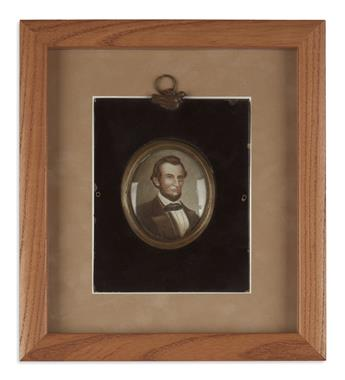 (PAINTINGS.) Unsigned miniature portrait of Lincoln on glass.
