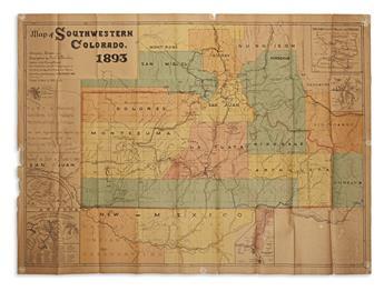FISCHER, EMIL B. Map of Southwestern Colorado.