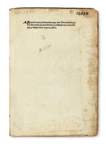 INCUNABULA  DIONYSIUS, the Carthusian [i. e., DENIS VAN LEEUWEN], attributed to. Specula omnis status vitae humanae.  1495