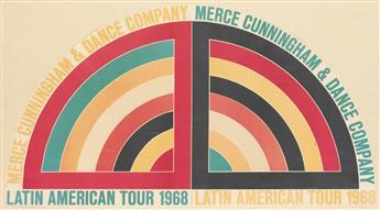 FRANK STELLA (1936- ). MERCE CUNNINGHAM & DANCE COMPANY / LATIN AMERICAN TOUR. 1968. 26x47 inches, 66x120 cm.