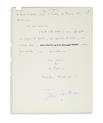 """COCTEAU, JEAN. Autograph Manuscript Signed, working draft of his poem, """"Tribute of Jean Cocteau to Marlene Dietrich,"""" in French,"""