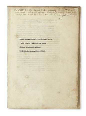 INCUNABULA  VEGETIUS RENATUS, FLAVIUS; et al. Scriptores rei militaris.  1495-96