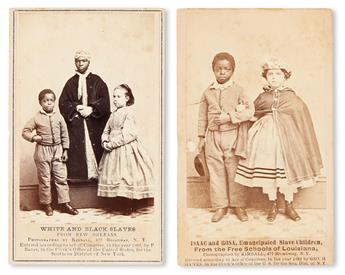 (SLAVERY AND ABOLITION--PHOTOGRAPHY.) FREEDMEN'S BUREAU. Isaac and Rosa, Emancipated Slave Children * White and Black Slaves.
