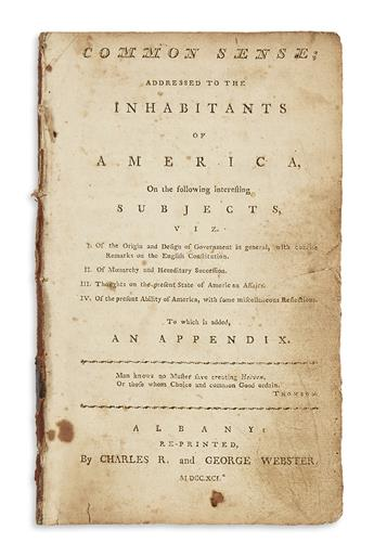 (AMERICAN REVOLUTION--1776.) Paine, Thomas. Common Sense; Addressed to the Inhabitants of America.