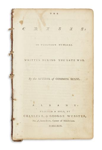 (AMERICAN REVOLUTION--1776.) [Paine, Thomas.] The Crisis, in Thirteen Numbers, Written During the Late War.