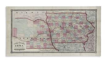 CRAM, GEORGE F. New Rail Road & Township Map of Iowa.