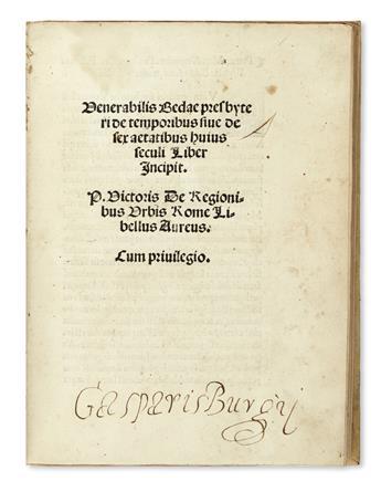 BEDE, the Venerable, Saint. De temporibus sive de sex aetatibus huius seculi liber incipit.  1509