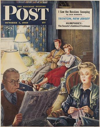 JOHN PHILIP FALTER (1910-1982) & CONSTANTIN ALAJALOV (1900-1987). THE SATURDAY EVENING POST. Group of 5 posters. 1948-1949. Each 27x21