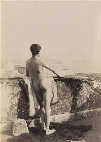 GUGLIELMO PLÜSCHOW (1852-1930)  Group of 3 en plein air male nude studies.