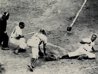 NAT FEIN (1914-2000) Jackie Robinson Steals Home (1955 World Series).