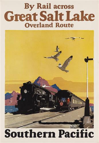 MAURICE LOGAN (1886-1977). BY RAIL ACROSS GREAT SALT LAKE / SOUTHERN PACIFIC. 1928. 23x15 inches, 58x40 cm.