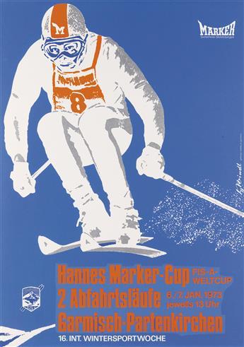 HILDE REINDL (1909-1990). HANNES MARKER - CUP. 1973. 33x23 inches, 84x59 cm. Güttinger Siebdruck, Garmisch.