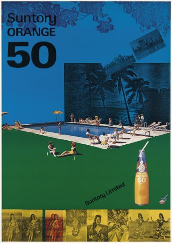 TADANORI YOKOO (1936- ). SUNTORY ORANGE 50. 1978. 40x28 inches, 103x73 cm.