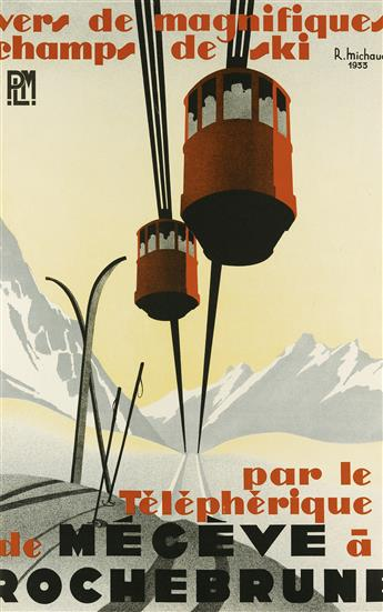 RENÉ MICHAUD (DATES UNKNOWN). PAR LE TÉLÉPHÉRIQUE DE MÉGÈVE À ROCHEBRUNE. 1933. 39x25 inches, 99x63 cm.