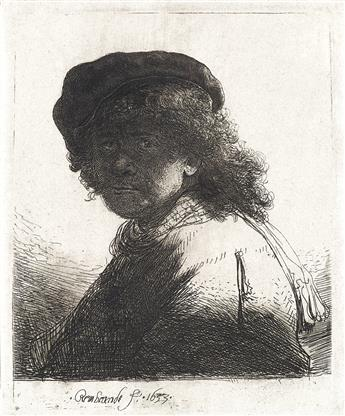 REMBRANDT VAN RIJN Self Portrait in a Cap and Scarf with the Face Dark: Bust.