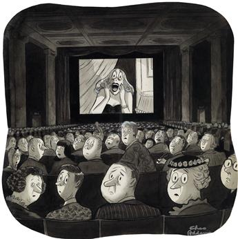 (THE NEW YORKER / CARTOONS) CHARLES ADDAMS. Movie Scream.