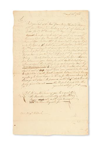 (SLAVERY AND ABOLITION.) VERNON, SAMUEL. A retained copy of a letter from Samuel Vernon to Alexander Willock, asking that he acquaint