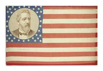 (PRESIDENTS--1884 CAMPAIGN.) Flag banner depicting candidate James G. Blaine.
