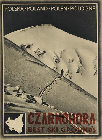 PHOTO BY A. ZIELINSKI (DATES UNKNOWN). CZARNOHORA SKI / BEST SKI GROUNDS. Circa 1930. 26x19 inches, 66x48 cm. Narodowa, Krakow.