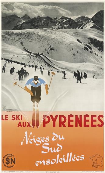GASTON GORDE (1908-1995). LE SKI AUX PYRÉNÉES / NEIGES DU SUD ENSOLEILLÉES. 1938. 40x25 inches, 103x63 cm. Mayeux, Paris.
