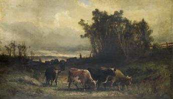 EDWARD M. BANNISTER  (1828 - 1901) Untitled (Cow Herd in Pastoral Landscape).