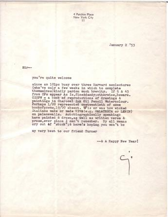 CUMMINGS, E.E. Typed Letter Signed, Cs, to Sir,