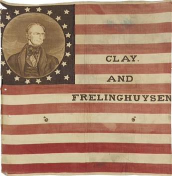 (PRESIDENTS--1844 CAMPAIGN.) Clay and Frelinghuysen flag banner.