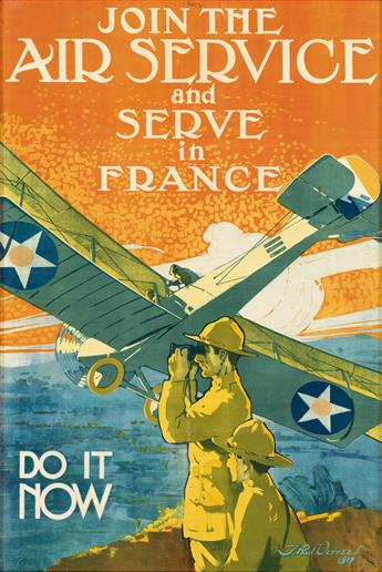 J. PAUL VERREES (1889-1942). JOIN THE AIR SERVICE AND SERVE IN FRANCE. 1917. 36x24 inches, 93x62 cm. Ketterlinus, Philadelphia.