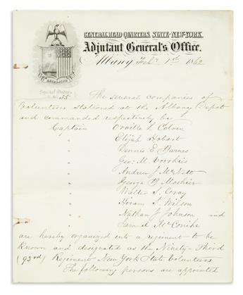 (CIVIL WAR--NEW YORK.) Papers of John Simpson Crocker, colonel of the 93rd New York Infantry.