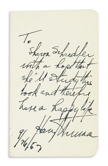 TRUMAN, HARRY S. New Testament, Signed and Inscribed, To Scharon Schredfer /