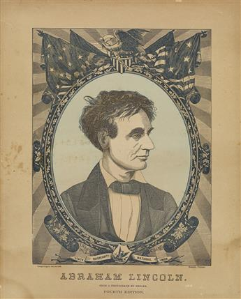 (PRINTS--1860 CAMPAIGN.) Brown, Franklin H.; engraver. State Sovereignty, National Union: Abraham Lincoln, from a Photograph by Hesler.