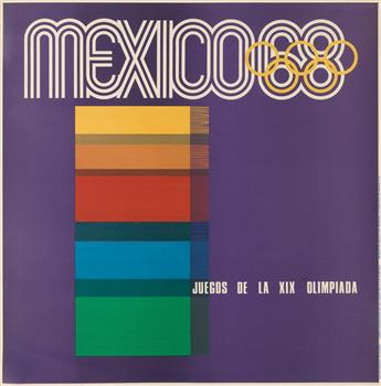 VARIOUS ARTISTS. MEXICO / JUEGOS DE LA XIX OLIMPIADA. Group of 4 posters. 1968. Each approximately 35x35 inches, 90x90 cm.