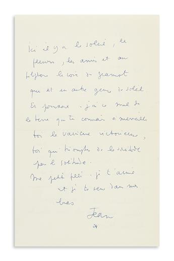 COCTEAU, JEAN. Autograph Letter Signed, Jean / [asterisk], to the daughter of Marlene Dietrich, Maria (My dear, very dear little gir
