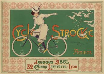 EDOUARD MONGE (DATES UNKNOWN). CYCLES STROCK & CIE. / AMIENS. 23x32 inches, 58x82 cm. Poméon et ses Fils, St. Chamond.