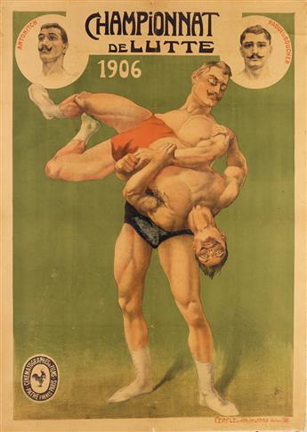 DESIGNER UNKNOWN. CHAMPIONNAT DE LUTTE. 1906. 63x45 inches, 160x114 cm. Cercle des Arts Industriels, Bois-Colombe.
