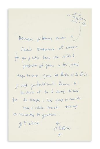 COCTEAU, JEAN. Autograph Letter Signed, Jean / [asterisk], to Marlene Dietrich (Marlene dear), in French,