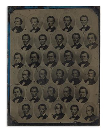 (LINCOLN, ABRAHAM.) An uncut tintype sheet of 30 miniature campaign photographs of the 4 candidates for use in badges.