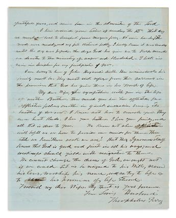 (CIVIL WAR--CONFEDERATE.) Perry, Theophilus. A Texan cavalry captain's Christmas letter to his wife.