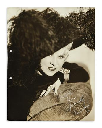 WEST, MAE. Photograph Signed and Inscribed, To / Maria / affectionately / Mae West,