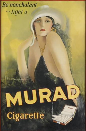 ROLF ARMSTRONG (1889-1960). BE NONCHALANT . . . LIGHT A / MURAD CIGARETTE. 37x25 inches, 94x63 cm.